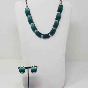 Star Teal Green Thermoset Necklace Clip Earrings
